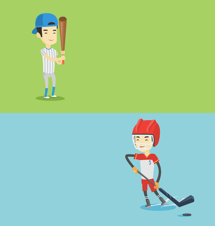 Two sport banners with space for text. Vector flat design. Horizontal layout. Asian sportsman playing ice hockey. Young ice hockey player skating on a rink. Ice hockey player with a stick and puck.