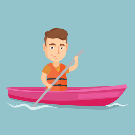Young caucasian sportsman riding a kayak on the river. Traveling man paddling a canoe. Sport and tourism concept. Vector flat design illustration. Square layout.