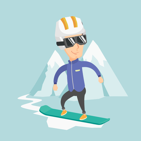 Adult caucasian sportsman snowboarding on the background of snow-capped mountains. Vector flat design illustration. Square layout.