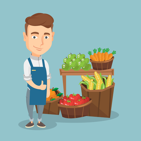 Foto de Young caucasian male supermarket worker giving thumb up while standing on the background of shelves with vegetables and fruits in a supermarket. Vector flat design illustration. Square layout. - Imagen libre de derechos