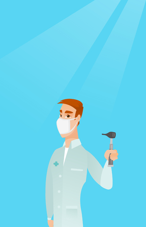 Full length of caucasian ear nose throat doctor. Young doctor in a medical gown and a mask holding tools used for examination of ear, nose, throat. Vector flat design illustration. Vertical layout.