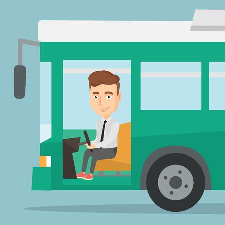 Illustration pour Caucasian bus driver sitting at steering wheel. Bus driver driving passenger bus. Bus driver in drivers seat in cab. Vector flat design illustration. Square layout. - image libre de droit