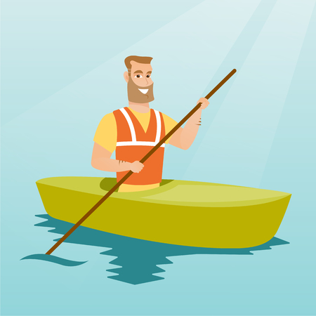 Young caucasian traveler man traveling by kayak. Happy sportsman riding a kayak on the river. Traveling man paddling a canoe. Sport and tourism concept. Vector flat design illustration. Square layout.