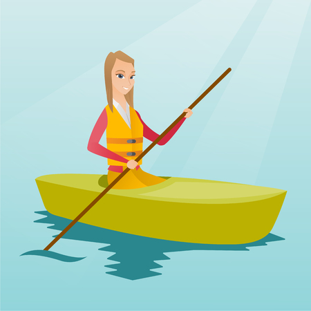 Young caucasian traveler woman traveling by kayak. Sportswoman riding a kayak on river. Traveling woman paddling a canoe. Sport and tourism concept. Vector flat design illustration. Square layout.