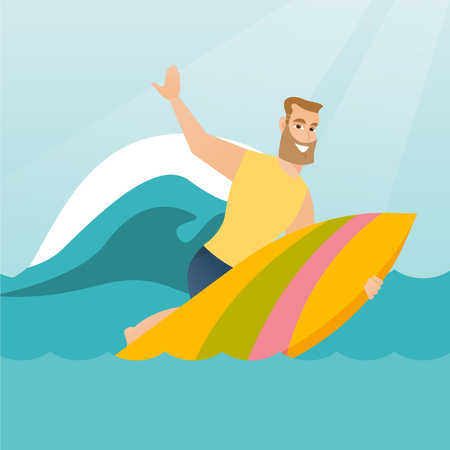Young caucasian man having fun during execution of a move on an ocean wave. Happy surfer in action on a surfboard. Lifestyle and water sport concept. Vector flat design illustration. Square layout.