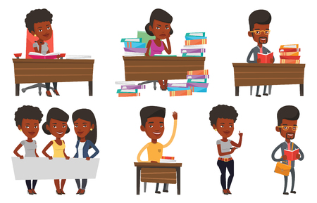 Illustration pour African student sitting at the table and thinking. Thinking student writing in exercise book. Thinking student doing homework. Set of vector flat design illustrations isolated on white background. - image libre de droit