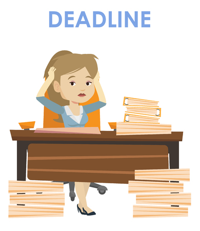 Illustration pour Business woman sitting at workplace and clutching head because of missed deadline. Caucasian business woman having problem with deadline. Vector flat design illustration isolated on white background. - image libre de droit