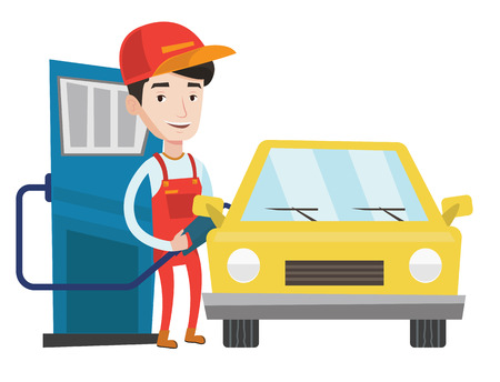 Illustration pour Gas station worker filling up fuel into car. Smiling worker in workwear at the gas station. Caucasian gas station worker refueling a car. Vector flat design illustration isolated on white background. - image libre de droit