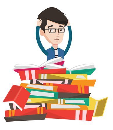 Caucasian Student Sitting In Huge Pile Of Books Exhausted