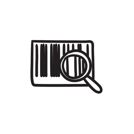 Magnifying glass and barcode vector sketch icon isolated on