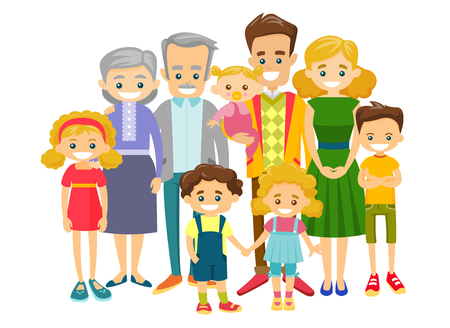 Ilustración de Happy extended caucasian smiling family with old grandparents, young parents and many children. Portrait of big family together with cheerful smile. Vector illustration isolated on white background. - Imagen libre de derechos