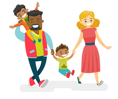 Illustration pour Happy smiling multiracial family walking and having fun together. Young cheerful Caucasian white mother and African-american father with mulatto kids strolling. Vector isolated cartoon illustration. - image libre de droit