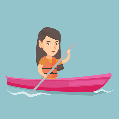 Young caucasian traveler woman traveling by kayak. Sportswoman riding a kayak on river. Traveling woman paddling a canoe. Sport and tourism concept. Vector cartoon illustration. Square layout.