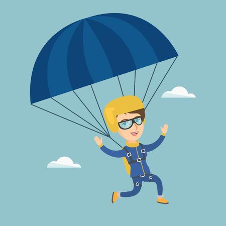 Ilustración de Caucasian skydiver flying with a parachute. - Imagen libre de derechos