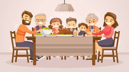 Foto de Christmas and Thanksgiving inspired winter Holiday card with caucasian family celebrating Thanksgiving at the table. Vector flat design family Holiday weekend illustration for poster, card, banner. - Imagen libre de derechos