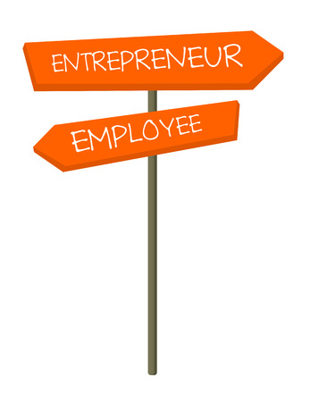 Road sign with two career directions - employee and entrepreneur vector cartoon illustration isolated on white background.