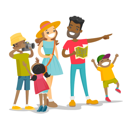 Illustration for Positive multiracial parents with three biracial kids traveling together. Traveling family checking a direction on a paper map and taking picture on the camera. Vector isolated cartoon illustration. - Royalty Free Image