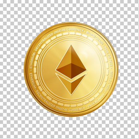 Ilustración de Golden ethereum coin. Crypto currency golden coin ethereum symbol isolated on transparent background. Realistic vector illustration. - Imagen libre de derechos