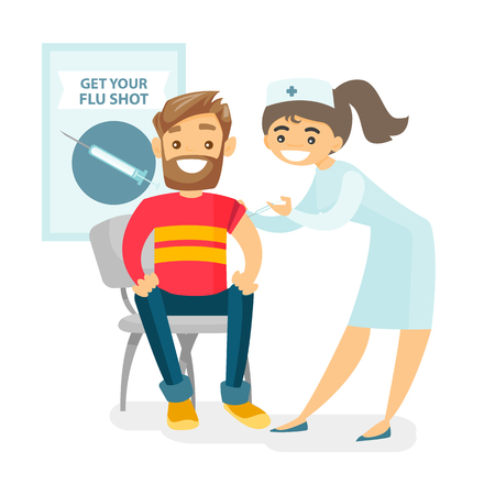 Illustration for Caucasian white doctor woman giving a free flu vaccination shot to the arm of a male patient. Young happy smiling doctor vaccinating a hipster man against flu. Vector isolated cartoon illustration. - Royalty Free Image
