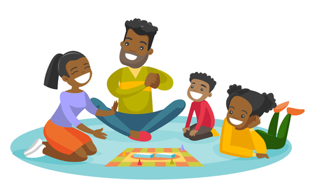 Illustration for Young happy african parents with their little children sitting on the floor and playing together board game at home. Family vacation concept. Vector cartoon illustration isolated on white background. - Royalty Free Image