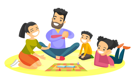 Illustration pour Young caucasian white parents with their little children sitting on the floor and playing together board game at home. Family vacation concept. Vector cartoon illustration isolated on white background - image libre de droit