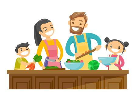 Foto de Young caucasian white parents with their son and daughter cooking together at home. Couple with kids having fun while preparing vegetable meal. Vector cartoon illustration isolated on white background - Imagen libre de derechos