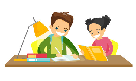 Photo pour Young caucasian white brother and sister sitting at the table and doing homework at home together. Girl reading a book while her brother writes in exercise book. Vector isolated cartoon illustration. - image libre de droit