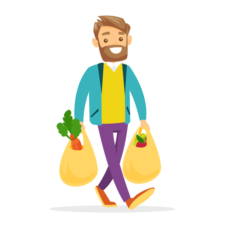 Ilustración de Young Caucasian white man walking with plastic shopping bags with healthy vegetables and fruits. - Imagen libre de derechos