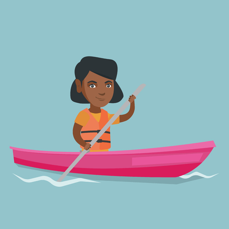 Young african-american traveler woman traveling by kayak. Sportswoman riding a kayak on river. Traveling woman paddling a canoe. Sport and tourism concept. Vector cartoon illustration. Square layout.