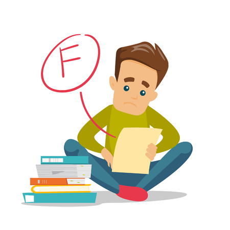 Ilustración de Unhappy caucasian white student disappointed by test with F grade. Sad student looking at the test paper with bad mark. Education concept. Vector cartoon illustration isolated on white background. - Imagen libre de derechos