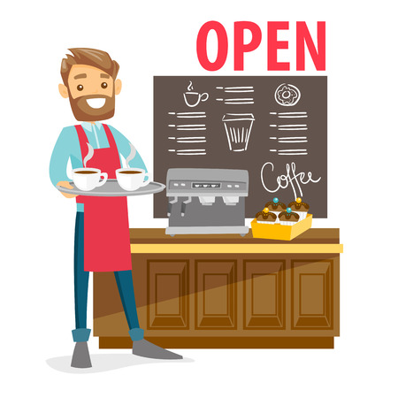 Ilustración de Young caucasian white barista standing in front of the counter with coffee machine in the coffee shop. Small business cocept. Vector cartoon illustration isolated on white background. Square layout. - Imagen libre de derechos