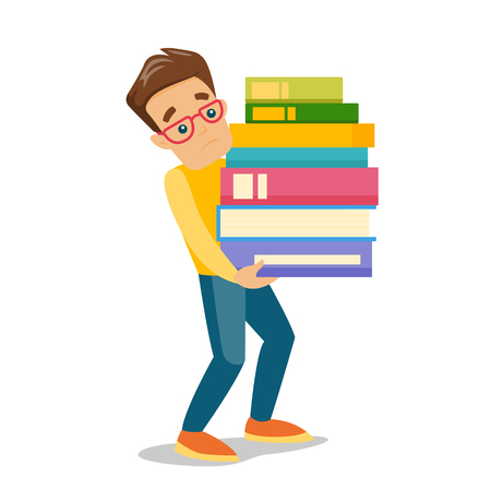 Illustration for Young caucasian white tired college student carrying a heavy pile of books. University student walking with huge stack of books. Vector cartoon illustration isolated on white background. Square layout - Royalty Free Image
