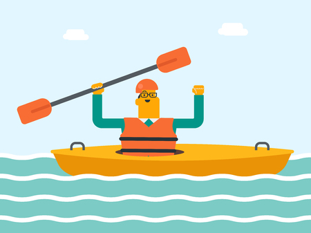 Caucasian white sportsman in helmet and life jacket riding a kayak on the river. Man rowing with a paddle while traveling by boat. Man paddling a canoe. Vector cartoon illustration. Horizontal layout.