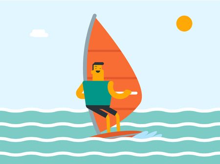 Caucasian white sportsman windsurfing in the sea in a summer day. Windsurfer training on the water. Man standing on the board with a sail for surfing. Vector cartoon illustration. Horizontal layout.