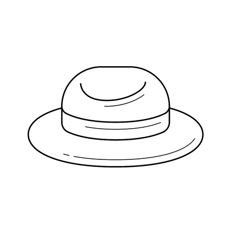 Illustration for Tourist hat vector line icon isolated on white background for infographic, website or app. Icon designed on a grid system. - Royalty Free Image