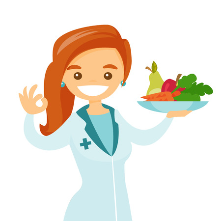 Foto de Caucasian white dietician holding plate with healthy food. Nutritionist prescribing diet and healthy eating. Nutritionist offering fresh food. Vector cartoon illustration isolated on white background. - Imagen libre de derechos