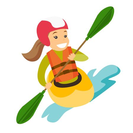 Caucasian white sportswoman in helmet and life jacket riding a kayak on river. Woman rowing with a paddle while traveling by boat. Woman paddling a canoe. Vector cartoon illustration. Square layout.