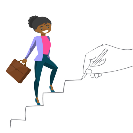 Illustration for Young african-american business woman running up the stairs drawn by hand with pencile. Happy business woman climbing the career ladder. Vector cartoon illustration isolated on white background. - Royalty Free Image