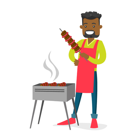 Illustration pour Young cheerful african-american man cooking shashlik with vegetables and meat on skewers on the barbecue grill outdoors. Vector cartoon illustration isolated on white background. Square layout. - image libre de droit