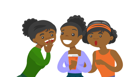 Illustration pour Young African-american woman shielding her mouth and whispering a gossip to her friends. Three women discussing gossips. Vector cartoon illustration isolated on white background. Horizontal layout. - image libre de droit