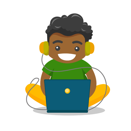 Illustration pour Young african-american fat boy in headphones playing video games on laptop. Obese teenage boy surfing on internet on computer. Vector cartoon illustration isolated on white background. Square layout. - image libre de droit