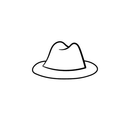 Illustration for Fedora hat hand drawn outline doodle icon. Accessory - classic trilby hat vector sketch illustration for print, web, mobile and infographics isolated on white background. - Royalty Free Image
