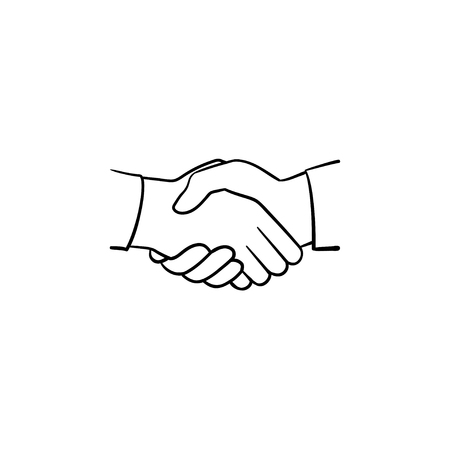 Illustration pour Handshake hand drawn outline doodle icon. Sketch illustration of handshake for print, web, mobile and infographics isolated on white background. Business deal, team and cooperation concept. - image libre de droit