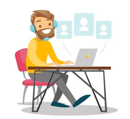 Ilustración de A man in headset with a computer at the desk. - Imagen libre de derechos