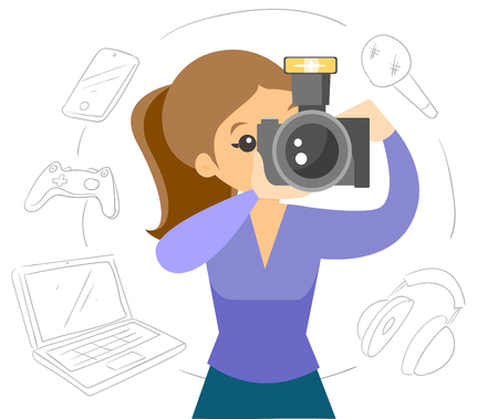 White woman making a photo with modern camera. Different gadgets laptop, phone, keypad, headset and microphone located around. Vector cartoon illustration isolated on white background.