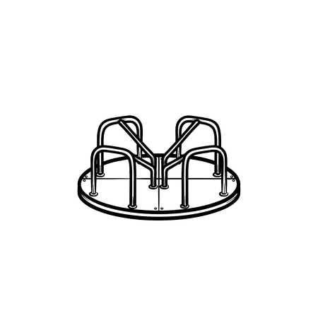 Ilustración de Playground roundabout hand drawn outline doodle icon. Concept of kids outdoor playground with carousel vector sketch illustration for print, web, mobile and infographics isolated on white background. - Imagen libre de derechos