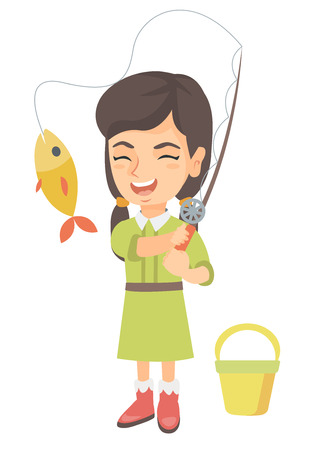 Ilustración de Cheerful caucasian little girl fishing. Smiling girl standing near the bucket for fish and holding fishing rod with fish on a hook. Vector sketch cartoon illustration isolated on white background. - Imagen libre de derechos