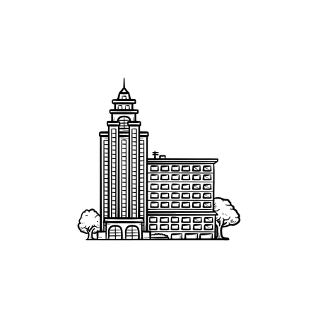 University building with trees hand drawn outline doodle icon. Campus and government building concept. Vector sketch illustration for print, web, mobile and infographics on white background.