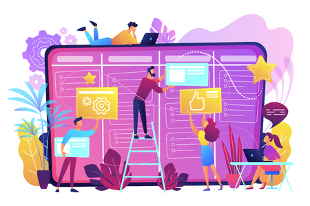 Illustration for Team members moving cards on large kanban board. Teamwork, communication, interaction, business process, agile project management concept, violet palette. Vector illustration on white background. - Royalty Free Image