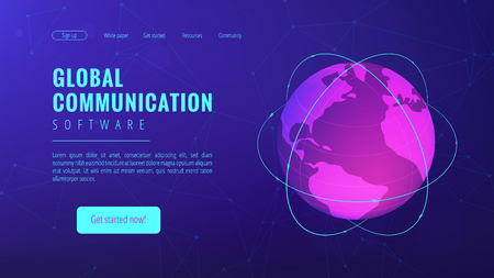 Isometric global communication landing page. Transnational communication, global information transferring technology and big data concept on ultraviolet background. Vector 3d isometric illustration.